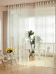 Two Panels Modern Stripe White Bedroom Polyester Sheer Curtains Shades