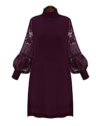 Women's Lace Spring Plus Sizes Solid Color Lace Splice Stand Collar Lantern Sleeve Casual Party Dress
