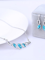 Jewelry Set Classic Elegant Crystal Unique Design Eyes Shape Pendant Necklace Earrings Girlfriend Gift