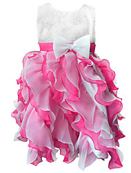 Girl's Blue/ Green/Pink/Red/Beige/Hot Pink Floral Evening Party Dress Organza/Satin All Seasons for 3~8 Years