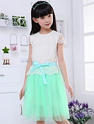 Girl's Green / Pink Dress,Jacquard Spandex Summer