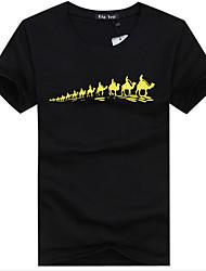 Herren T-shirt-Druck Freizeit Baumwolle Kurz-Schwarz / Rot / Weiß / Grau