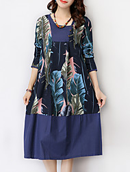 Women's Casual / Day Print Ethnic Print Loose Thin Elegant Dress , Round Neck Knee-length Cotton / Linen