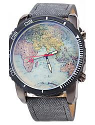 JUBAOLI Мужской Наручные часы Повседневные часы Кварцевый Кожа Группа World Map Pattern Черный Синий