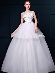 A-line Wedding Dress Floor-length Strapless Lace / Organza with Lace