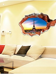 Romantic French Eiffel Tower La Tour Sky 3D Landscape Window View Wall Sticker Home Decals For Living Room