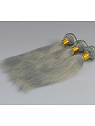 peruano extensiones de cabello gris recta cabello humano gris plata lía 3pcs / lot