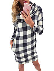 Women's Plaid Side Pocket Draped Neck Mini Dress