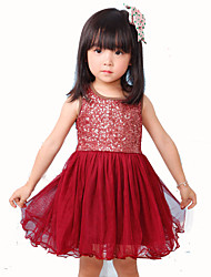 Girl's Red / Yellow Dress , Lace Polyester Summer