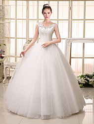 Ball Gown Wedding Dress Floor-length V-neck Lace / Tulle with Appliques / Sequin / Beading