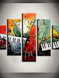 Hand Painted Oil Painting Double Keyboard Sound Abstract Paintings with Stretched Frame Set of 5