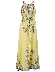 Women's Casual / Day / Boho / Holiday / Beach Floral Plus Size / Loose Dress , Round Neck Maxi Polyester