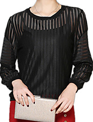 Spring Plus Sizes Women's Sexy Pierced Round Neck Long Sleeve Formal OL Shirt Blouse Tops