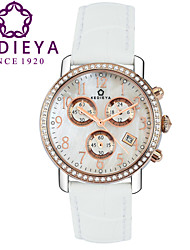 KEDIEYA Genuine Leather 60 Zircon Diamond Mosaic Date Sapphire Chronograph White Watch Ladies Gift Womens Watches Cool Watches Unique Watches