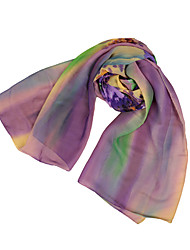 Women Chiffon Scarf Floral Print Gradient Color Long Shawl Pashmina Beach
