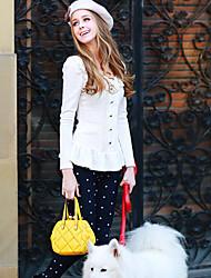 Tee-shirt Aux femmes,Couleur Pleine Habillées simple Printemps Manches Longues Col Arrondi Blanc Polyester / Spandex Moyen