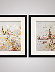 Framed  Chinese  Painitng Lotus Leaves and Bamboo Modern Print Art Set of 2 for Home Decoration Ready To Hang
