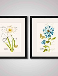 Framed Yellow and Blue Flowers Canvas Print Art for Office and Home Decoration Set of 2 Ready To Hang