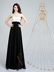Formal Evening Dress - Ivory A-line High Neck Floor-length Chiffon