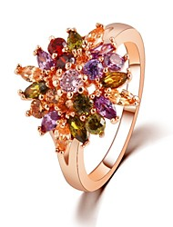 Statement Ring Multicolor Zircon Designer Unique Ring Flower Shape