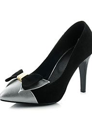 Women's Shoes Patchwork Stiletto Heel Heels with Bowknot/Pointed Toe Shoes Office & Career/Party & Evening/Dress Black