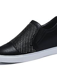 Черный / Серебристый-Женская обувь-Для офиса / Для праздника / На каждый день-Синтетика-На плоской подошве-Удобная обувь-Кроссовки