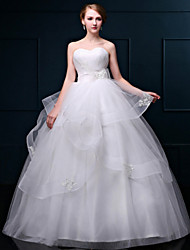 A-line Wedding Dress Floor-length Sweetheart Lace / Organza with Lace
