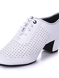 Latin Women's Dance Shoes Heels Breathable Leather Cuban Heel Black/Red/White