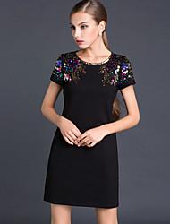 JOJO HANS Women's Work Shift Dress,Solid U Neck Mini Short Sleeve Black Cotton / Polyester Spring
