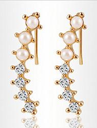 Boucle Boucles d'oreille goutte Bijoux 2pcs Alliage / Imitation de perle / Zircon Femme Argent