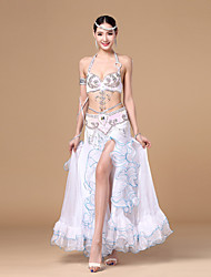 Belly Dance Outfits Women's Performance Polyester Paillettes / Ruffles / Sash/Ribbon / Sequins 3 Pieces Sleeveless DroppedBelt / Skirt /