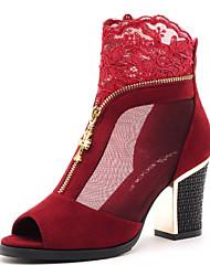 Черный / Красный - Женская обувь - Для офиса / Для праздника / На каждый день / Для вечеринки / ужина - Тюль - На толстом каблуке -На