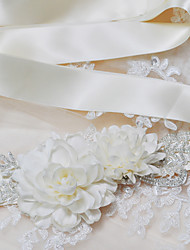 Satin Wedding / Party/ Evening / Dailywear Sash-Sequins / Beading / Appliques / Pearls / Floral Women's 98 ½in(250cm)Sequins / Beading /