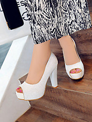 Women's Shoes Heel Heels / Peep Toe / Platform Sandals / Heels Office & Career / Dress / Casual White / Gold