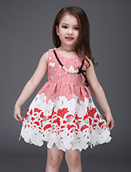 Girl's Red Dress , Floral Polyester Summer