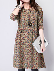 Women's Casual / Day / Simple Floral / Color Block / Patchwork Slim Waist Dress , Round Neck Knee-length Cotton / Linen