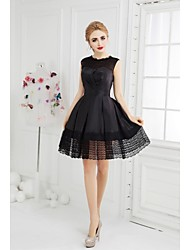 Cocktail Party Dress - Black A-line Jewel Short/Mini Taffeta