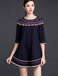 Women's Work A Line Dress,Embroidered Round Neck Mini ½ Length Sleeve Blue Cotton / Polyester Spring