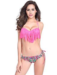 Women's Tassel Halter Pink Tassels Stripe Push Up Bikini Set