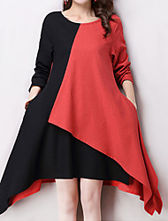 Women's Casual / Day / Simple Color Block / Patchwork Loose Thin Dress , Round Neck Asymmetrical Cotton / Linen