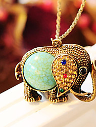 Women's Bohemian Retro Zircon Gem Elephant Sweater Chain Long Necklaces 1pc