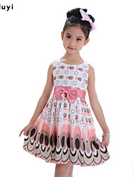 Girl's Floral Dress,Cotton Blend All Seasons Green / Pink