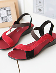 Women's Shoes Heel Wedges / Peep Toe Sandals Outdoor / Dress / Casual Black / Purple / Red / Black and Red