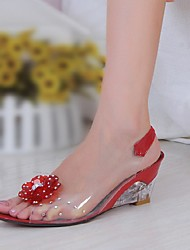 Women's Shoes Silicone / Patent Leather Wedge Heel Wedges / Peep Toe Sandals Office & Career / Dress /Blue /  Red