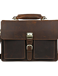 Men Cowhide Formal Satchel Brown