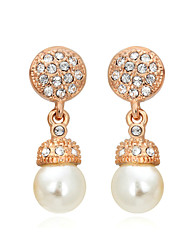 HKTC Concise Jewelry 18k Rose Gold Plated Shinning White Simulated Pearls Drop Earrings
