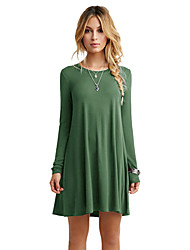 Women Swing Dress Long Sleeve Round Neck Solid Casual Loose Mini Dress Dark