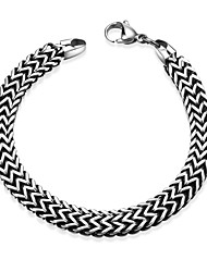 Maya Fashion Generous Wave Style Men Stainless Steel Chain & Link Bracelets(Black)(1Pcs)