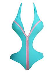 Women's  Sport Zip Front Halter One Piece Swimsuit