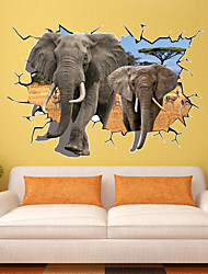 70*100Cm Pvc African Animal Elephants 3D Wall Sticker Kids Love Bedroom Living Room Party Wall Decors